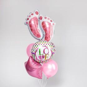 Букет из шаров «Рождение девочки», следы, фольга, набор из 7 шт.