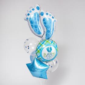 Букет из шаров «Рождение мальчика», следы, фольга, набор из 7 шт.