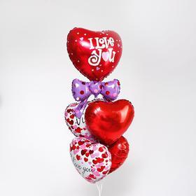 Букет из шаров «Сердце с бантом», фольга, набор из 5 шт.