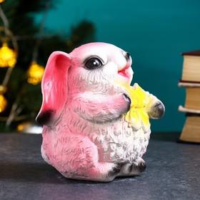 """Копилка """"Кролик с бантиком"""" розовый, 15см"""