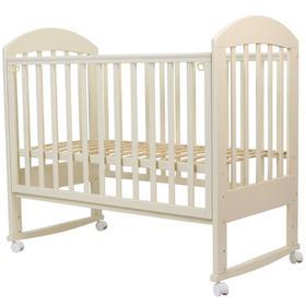Кровать детская «Дарина-2», 120х60 см, колесо, качалка, цвет слоновая кость