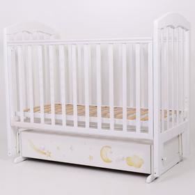 Кровать детская «Сильвия-7», 120х60 см, универсальный маятник, ящик, принт, цвет белый
