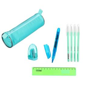 Набор канцелярский 10 предметов (Пенал-тубус 65 х 210 мм, ручки 4 штуки цвет синий , линейка 15 см, точилка, карандаш 2 штуки, маркер-текстовыделитель), цвет бирюзовый