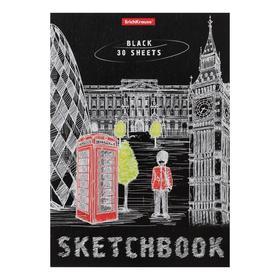 Альбом для эскизов А5, 30 листов на клею Great Britain, обложка мелованный картон, блок чёрный 120 г/м2