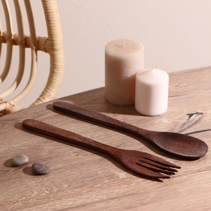 """Набор вилка и ложка из кокоса """"Бали"""" 30 см - фото 669238"""