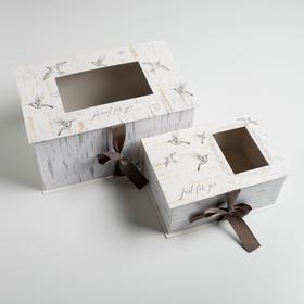 Набор коробок подарочных 2 в 1 «Шебби», 22 × 15 × 10, 30 × 20 × 15 см