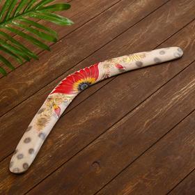"""Сувенир из дерева """"Бумеранг"""" алый цветок 50х12х1 см"""