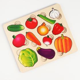 """Развивающая доска """"Часть и целое. Овощи"""" с разрезными вкладышами внутри арт.8017"""