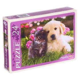 Макси-пазлы 24 элемента «Котёнок и щенок»