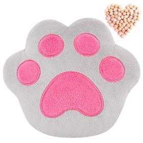 Развивающая игрушка-грелка «Лапа», серо-розовая