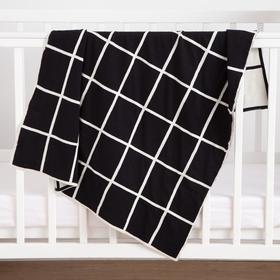 Плед вязаный Крошка Я «Клетка» цвет чёрный, 80х100 см