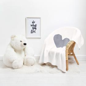 Плед вязаный Крошка Я «Сердце» цвет молочный, 75х95 см