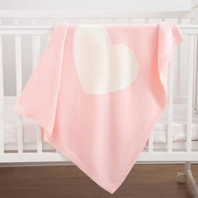 Плед вязаный Крошка Я «Сердце» цвет розовый, 75х95 см