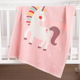 """Плед вязаный Крошка Я """"Единорог"""" цв. розовый, 80*100 см, 100% хлопок"""