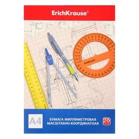 Бумага масштабно-координатная А4 ErichKrause, 20 листов на клею