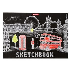 Альбом для эскизов А4, 30 листов на клею Great Britain, обложка мелованный картон, блок чёрный 120 г/м2