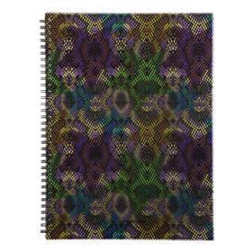 Тетрадь А4, 80 листов в клетку, на гребне Purple Python, пластиковая обложка, на резинке, блок офсет