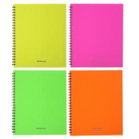 Тетрадь А5, 60 листов в клетку, на гребне Neon, пластиковая обложка, блок офсет, МИКС