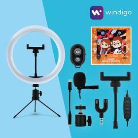 Набор Юного Блогера Windigo KIDS CB-99, кольцевая лампа, штатив, микрофон, пульт Bluetooth