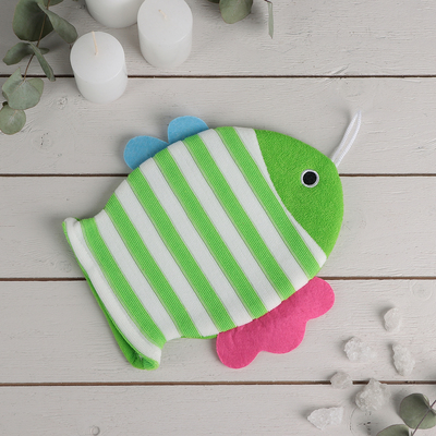 "Washcloth mitten for children 19×21 cm ""Fish"", striped, MIX color"