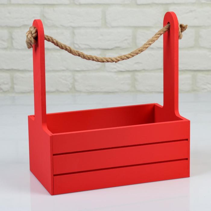 """Кашпо деревянное 25.5×15×30 см """"Аром"""", ручка канат, красное - фото 855500"""