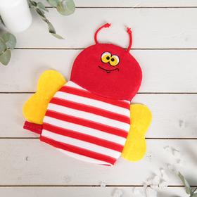 Мочалка варежка детская Доляна «Пчёлка», цвет МИКС