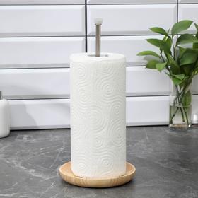 Подставка под бумажные полотенца, 11×11×32,5 см, нержавеющая сталь, дерево