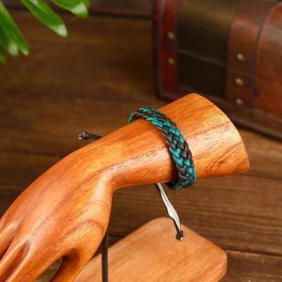 "Bracelet ""Banten"" artificial leather, black and green 14 cm"