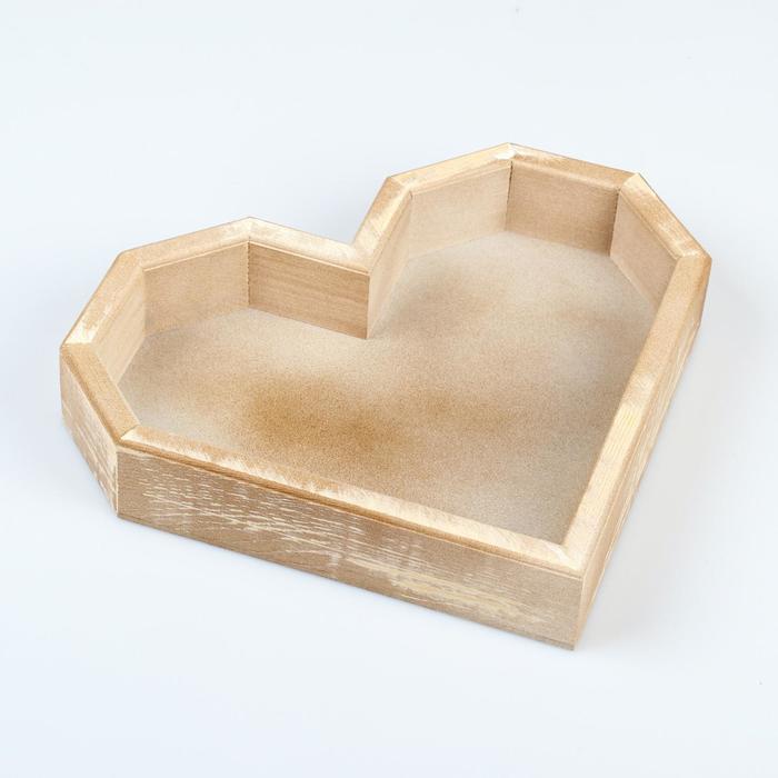 "Кашпо деревянное 26.5×24×4.5 см ""Сердце"", состаренный Дарим Красиво - фото 408577"