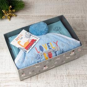 "Gift set ""Joyful time"", Terry corner 75*75 cm, diaper 75*120 cm cotton 100%"