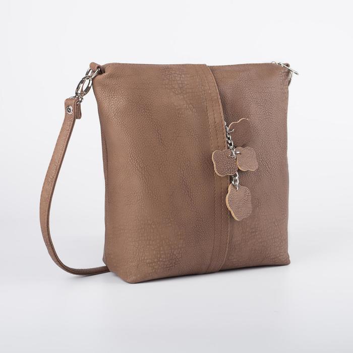 Сумка женская, отдел на молнии, наружный карман, длинный ремень, цвет светло-коричневый - фото 282124726