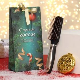 Подарочный набор «Ёлки-иголки», 2 предмета: зеркало, массажная расчёска, цвет разноцветный