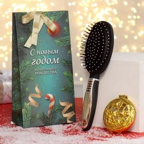 Подарочный набор «Ёлки-иголки-2», 2 предмета: зеркало, массажная расчёска, цвет разноцветный