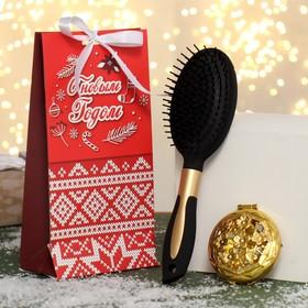 Подарочный набор «Вязь», 2 предмета: зеркало, массажная расчёска, цвет разноцветный