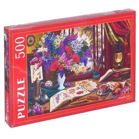 Пазлы 500 элементов «Натюрморт с сиренью и скетчами»