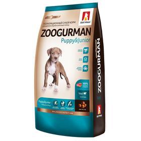Сухой корм Zoogurman для щенков средних и крупных пород , телятина, 12 кг
