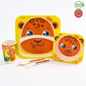 Набор бамбуковой посуды «ТРЕНД. Леопард»: тарелка, миска, стакан, вилка, ложка