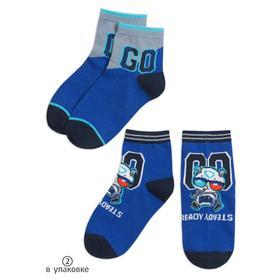 Носки для мальчиков, размер 14-16, цвет синий, синий, 2 пары