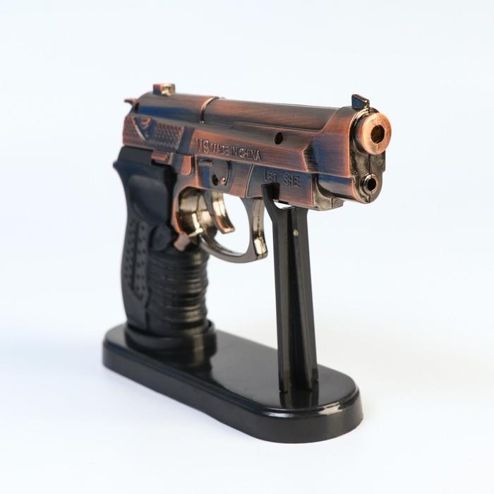 """Зажигалка с лазерной указкой """"Беретта"""" на подставке, пьезо, микс, 11х13 см"""
