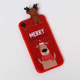 """Phone case for iPhone XR """"Merry Christmas"""", with a character, 7.6 x 15.1 cm"""