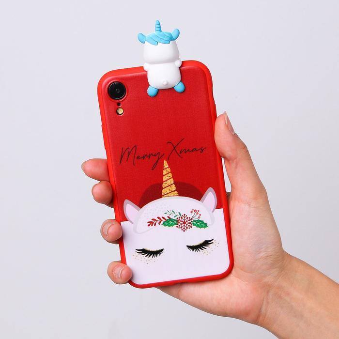Чехол для телефона iPhone XR «Новогодний единорог», с персонажем, 7,6 х 15,1 см - фото 70963