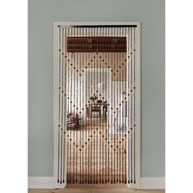 Занавеска «Зиг-заг», 90×175 см, 27 нитей, дерево, бусины малые