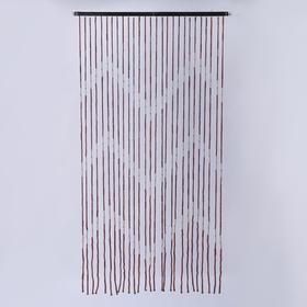 Занавеска «Зиг-заг», 90×175 см, 27 нитей, дерево, бусины длинные продольные