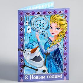 """Алмазная мозаика на открытке """"С Новым годом"""" Холодное сердце"""