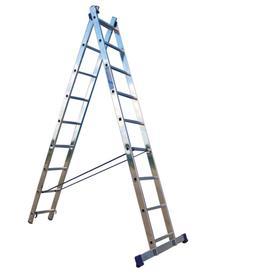 """Лестница двухсекционная """"Ремоколор"""" 63-2-011, универсальная, алюминиевая, 11 ступеней"""