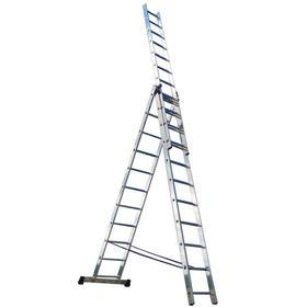 """Лестница трехсекционная """"Ремоколор"""" 63-3-010, универсальная, алюминиевая, 10 ступеней"""