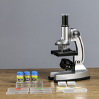 """Микроскоп """"Исследование"""", кратность увеличения 600х, 300х, 100х, с подсветкой, серебристый - фото 105608193"""