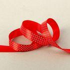 """Лента для декора и подарков атласная """"Горошек"""", красный, 2.5 см х 25 м"""