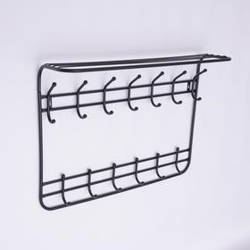 Вешалка настенная с полкой на 13 крючков «Комфорт», 80×10×55 см, цвет чёрный - фото 4641846