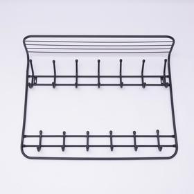Вешалка настенная с полкой на 13 крючков «Комфорт», 80×10×55 см, цвет чёрный - фото 4641847